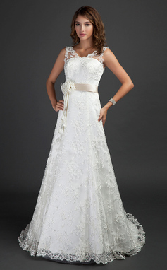 A-Line/Princess V-neck Court Train Lace Wedding Dress With Sash Beading Flower(s) (002000187)