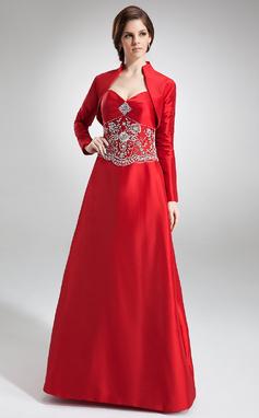 A-Lijn/Prinses Sweetheart Vloer lengte Taft Bruidsmeisjes Jurk met Geborduurd Kraalwerk (007002101)