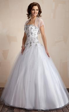Платье для Балла В виде сердца Длина до пола Тюль Пышное платье с Вышито (021004553)