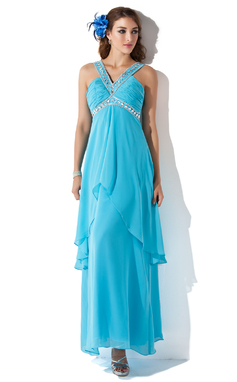 A-Line/Princess V-neck Ankle-Length Chiffon Holiday Dress With Beading Cascading Ruffles (020025956)