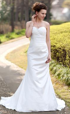 Trumpet/Mermaid Sweetheart Court Train Taffeta Wedding Dress With Ruffle (002000490)