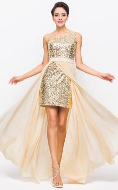 A-Line/Princess One-Shoulder Asymmetrical Chiffon Charmeuse Sequined Prom Dress (018056713)