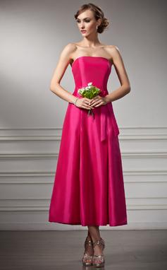 A-Lijn/Prinses Strapless Thee lengte Taft Bruidsmeisjes Jurk (007020875)
