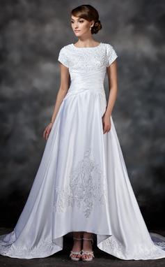 A-Linie/Princess-Linie Rechteckiger Ausschnitt Asymmetrisch Satin Brautkleid mit Rüschen Spitze Perlen verziert (002017418)