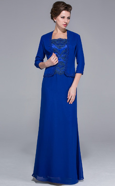 Sheath/Column Square Neckline Floor-Length Chiffon Charmeuse Mother of the Bride Dress With Lace Beading Sequins (008025767)