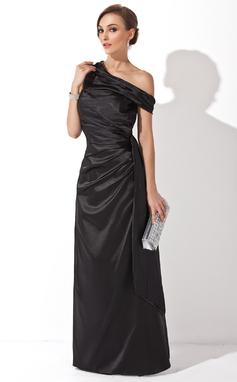 Платье-чехол Выкл-в-плечо Длина до пола Шармёз Вечерние Платье с Рябь (017025908)