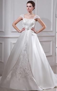 Платье для Балла квадратный вырез Церемониальный шлейф Атлас Органза Свадебные Платье с Вышито Рябь развальцовка (002011665)