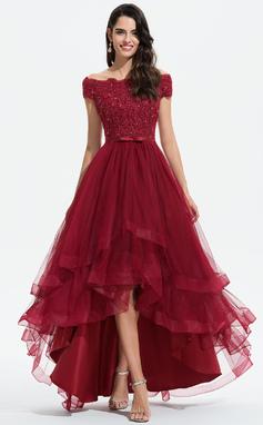 Трапеция Выкл-в-плечо асимметричный Тюль Свадебные Платье с развальцовка блестки Бант(ы) (002207439)