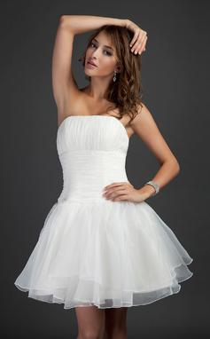 Трапеция/Принцесса Без лямок Мини-платье Органза Коктейльные Платье с Рябь (016015368)