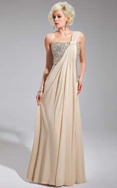 A-Line/Princess One-Shoulder Floor-Length Chiffon Sequined Evening Dress With Ruffle (017019740)
