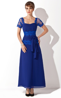 Vestidos princesa/ Formato A Amada Longuete Tecido de seda Vestido para a mãe da noiva com Beading Apliques de Renda lantejoulas Curvado (008014546)