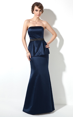 Trumpet/Mermaid Strapless Floor-Length Satin Holiday Dress With Ruffle Sash (020036599)
