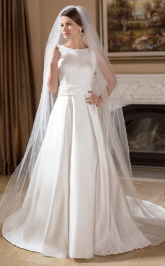 A-Line/Princess Scoop Neck Chapel Train Satin Wedding Dress With Beading (002011715)