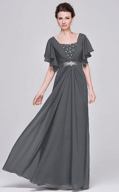 Corte A Amada Longos Tecido de seda Vestido para a mãe da noiva com Pregueado Beading lantejoulas (008058416)
