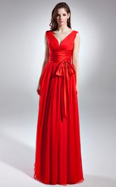 Vestidos princesa/ Formato A Decote V Longos De chiffon Vestido de festa com Pregueado Curvado (017015642)