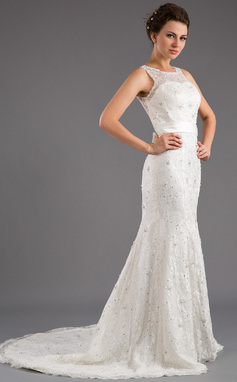 Trumpet/Mermaid Scoop Neck Court Train Lace Wedding Dress With Beading Sequins Bow(s) (002035872)