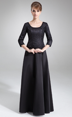 A-Line/Princess Scoop Neck Floor-Length Satin Lace Mother of the Bride Dress (008006504)