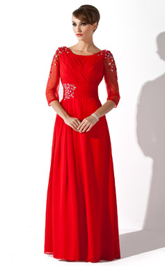 A-Line/Princess Scoop Neck Floor-Length Chiffon Mother of the Bride Dress With Ruffle Beading Sequins (008005752)