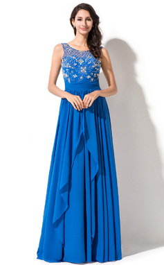 A-Line/Princess Scoop Neck Sweep Train Chiffon Tulle Prom Dress With Beading Sequins Cascading Ruffles (018055007)