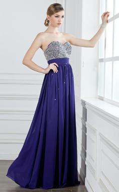 A-Linie/Princess-Linie Herzausschnitt Bodenlang Chiffon Abiballkleid mit Rüschen Perlen verziert Pailletten (018004908)