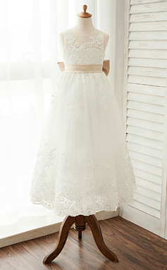 A-Line/Princess Scoop Neck Ankle-Length Tulle Junior Bridesmaid Dress With Sash Bow(s) (009126280)