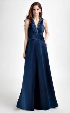 Vestidos princesa/ Formato A Decote V Chá comprimento Cetim Vestido de madrinha com Pregueado Bordado (007001728)