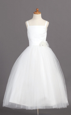 Ball Gown Ankle-length Flower Girl Dress - Satin/Tulle Sleeveless Straps With Flower(s) (010004208)