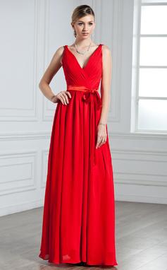Forme Princesse Col V Longueur ras du sol Mousseline Robe de soirée avec Plissé À ruban(s) (017022550)