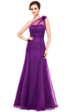 Vestidos princesa/ Formato A Um ombro Longos Tule Vestido de madrinha com Pregueado fecho de correr (007051140)