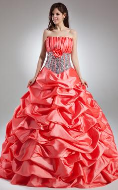 Платье для Балла Волнистый Длина до пола Тафта Пышное платье с Рябь Цветы блестки (021015958)