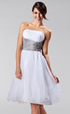 A-Line/Princess Strapless Knee-Length Organza Bridesmaid Dress With Ruffle Sash Beading (007005224)