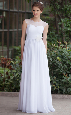 A-Line/Princess Scoop Neck Floor-Length Chiffon Tulle Wedding Dress With Ruffle Flower(s) (016026255)