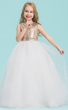 Ball Gown Floor-length Flower Girl Dress - Tulle/Sequined Sleeveless Scoop Neck (010143268)