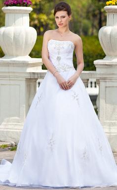 Balklänning Hjärtformad Chapel släp Organzapåse Bröllopsklänning med Broderad Pärlbrodering (002000299)