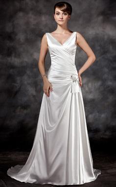 A-Line/Princess V-neck Court Train Charmeuse Wedding Dress With Ruffle Beading Sequins (002011434)