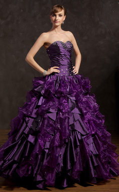 Ball-Gown Sweetheart Floor-Length Organza Prom Dress With Beading Cascading Ruffles (018135354)