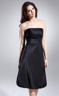 Vestidos princesa/ Formato A Sem Alças Coquetel Tafetá Vestido de boas vindas com Pregueado (022015614)