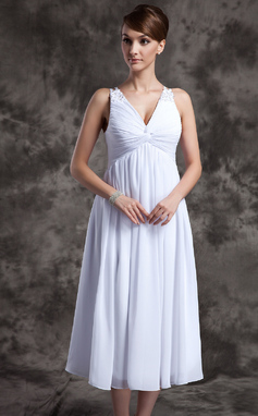 A-Line/Princess V-neck Tea-Length Chiffon Bridesmaid Dress With Ruffle Beading (007025845)