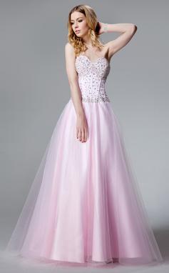 A-Linie/Princess-Linie Herzausschnitt Bodenlang Tüll Quinceañera Kleid (Kleid für die Geburtstagsfeier) mit Perlen verziert (021020664)
