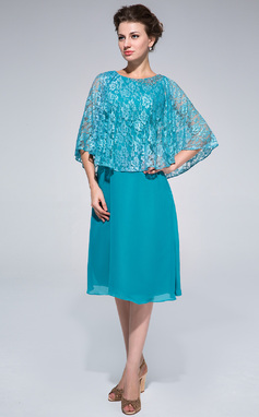 Sheath/Column Scoop Neck Knee-Length Chiffon Lace Mother of the Bride Dress With Beading (008025714)