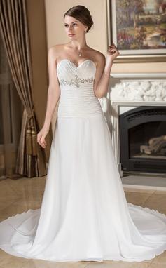 Forme Princesse Bustier en coeur Traîne moyenne Mousseline Robe de mariée avec Plissé Emperler Sequins (002000105)