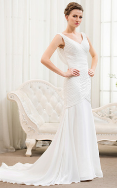 Trumpet/Mermaid V-neck Court Train Chiffon Wedding Dress With Ruffle Lace Beading Sequins (002054619)