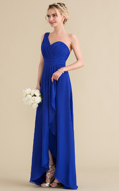 A-Line/Princess One-Shoulder Asymmetrical Chiffon Bridesmaid Dress With Cascading Ruffles (007144731)