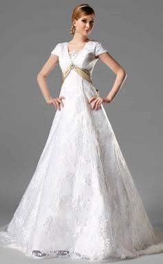 Vestidos princesa/ Formato A Decote quadrado Cauda longa Renda Vestido de noiva com Cintos Pino flor crystal Curvado (002000125)