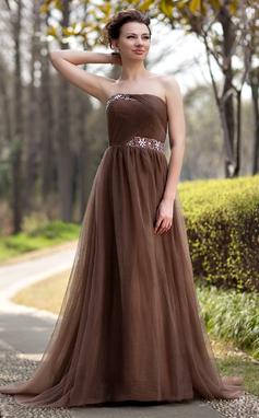 Império Sem Alças Sweep/Brush trem Tule Vestido para a mãe da noiva com Pregueado Bordado (008018735)