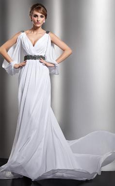 A-Line/Princess V-neck Chapel Train Chiffon Wedding Dress With Ruffle Beading (002012610)