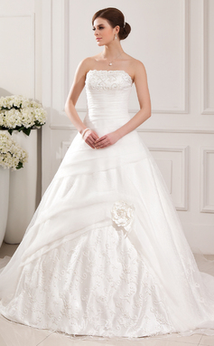 De baile Sem Alças Cauda longa Organza de Vestido de noiva com Renda Bordado (002011611)