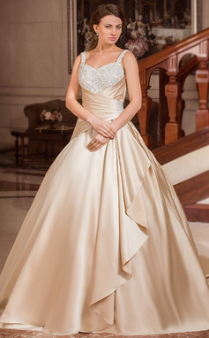 Ball-Gown Sweetheart Court Train Satin Wedding Dress With Lace Beading Cascading Ruffles (002012634)