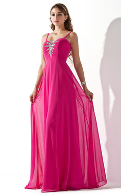A-Line/Princess Sweetheart Floor-Length Chiffon Prom Dress With Ruffle Beading (018013787)