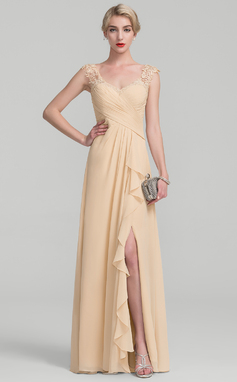 A-Line/Princess Floor-Length Chiffon Lace Mother of the Bride Dress With Split Front Cascading Ruffles (008114251)